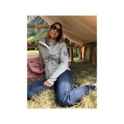 PINEA Damen Strickfleece Jacke MILLA Farbe BIRCH MELIERT