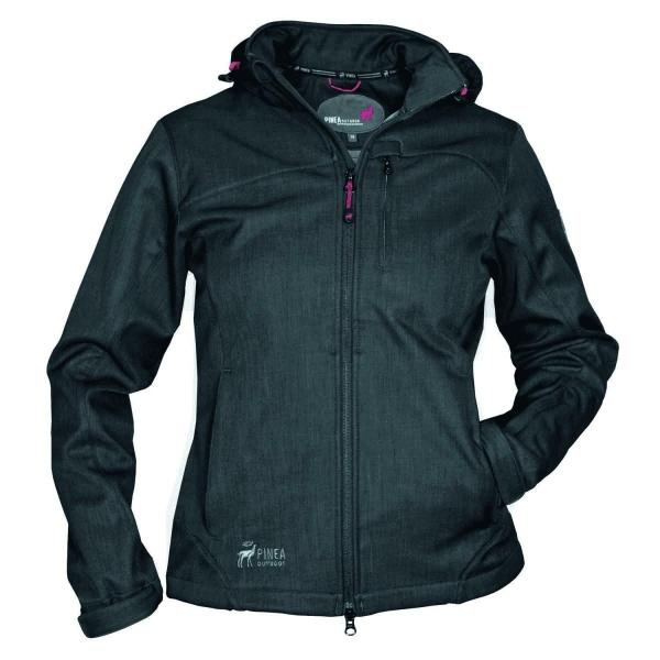 PINEA Damen Softshell Jacke TARJA Farbe BLACK mit Großen Größen