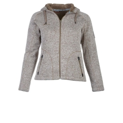 PINEA Damen Strickfleece Hoodie MOONA Farbe SCHLAMM in...
