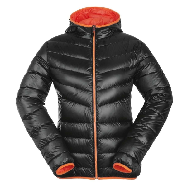 PINEA Damen Daunen Jacke NELLI Farbe SCHWARZ-ORANGE Größe 44