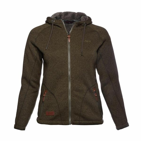 PINEA Damen Fleece Hoodie MOONA Farbe BELUGA GRÜN Größe 46