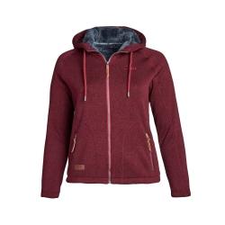 PINEA Damen Fleece Hoodie MOONA Farbe DUNKELROT Größe 42