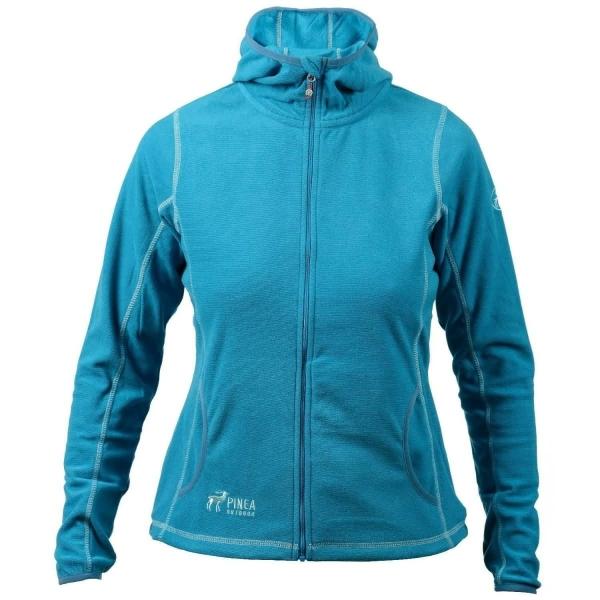 PINEA Damen Fleece Jacke NOORA mit Kapuze Farbe CARIBEAN BLAU