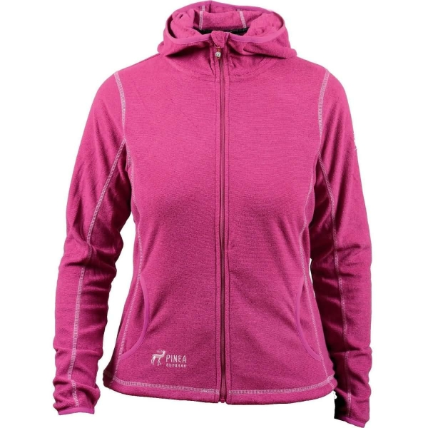 PINEA Damen Fleece Jacke NOORA mit Kapuze Farbe MAGENTA
